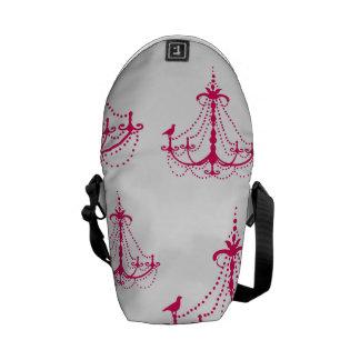 raspberry pink chandelier pattern on white messenger bag