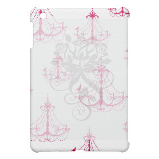 raspberry pink chandelier pern on white cover for the iPad mini