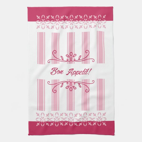 Raspberry pink damask french inspired bon appetit kitchen towel