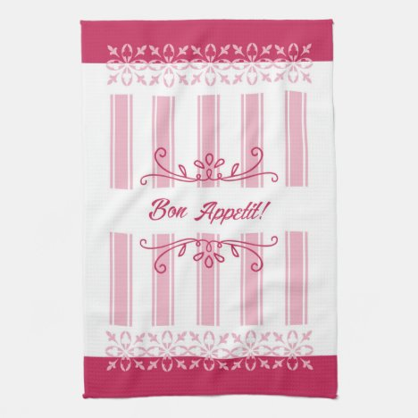 Raspberry pink damask french inspired bon appetit towel