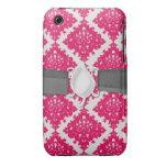 raspberry pink diamond damask on white iPhone 3 cases