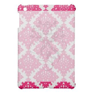 raspberry pink diamond damask on white case for the iPad mini