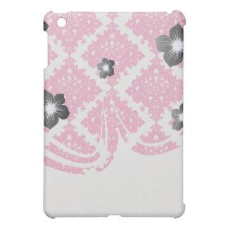 raspberry pink diamond damask on white iPad mini cover
