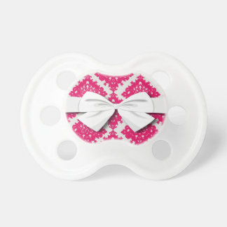 raspberry pink diamond damask on white pacifier