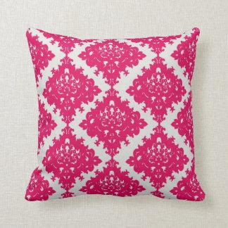 raspberry pink diamond damask on white throw pillow