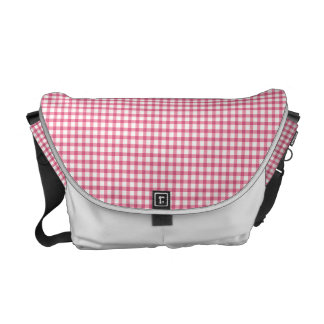 Raspberry Pink Gingham Check Pattern Courier Bag