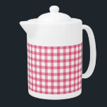 "Raspberry Pink Gingham Plaid Checked Pattern Teapot<br><div class=""desc"">Raspberry Pink Gingham Plaid Checked Pattern</div>"