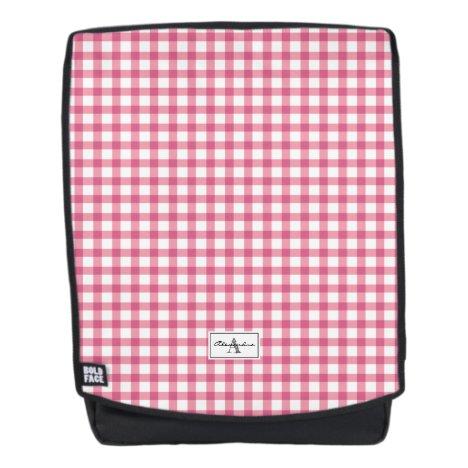 Raspberry Pink Gingham Plaid Pattern Monogram Backpack