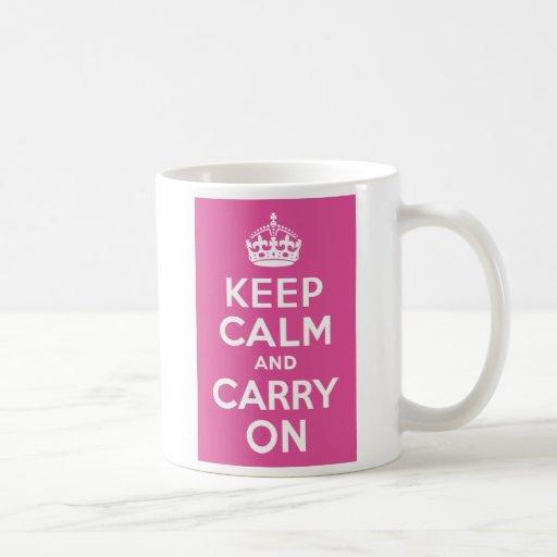 Raspberry Pink Keep Calm and Carry On Classic White Coffee Mug
