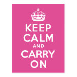 Raspberry Pink Keep Calm and Carry On Postcard