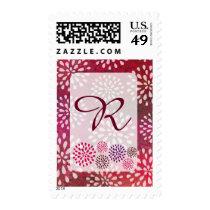 Raspberry Pink Mums Flower Blossom Monogram Postage