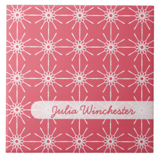 Raspberry Pink Starburst Personalized Tile