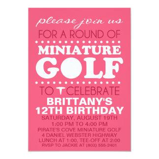 Raspberry Pink Tee Time Miniature Golf Birthday Pa Card