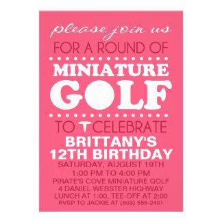 Raspberry Pink Tee Time Miniature Golf Birthday Pa Custom Invites