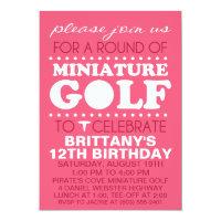 Raspberry Pink Tee Time Miniature Golf Birthday Pa Invitation