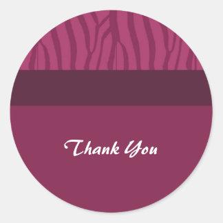 Raspberry Pink Thank You Classic Round Sticker