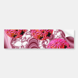 Raspberry Pink Vision, Abstract Snow Flakes Bumper Sticker