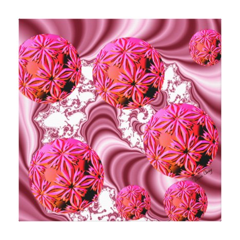 Raspberry Pink Vision, Abstract Snow Flakes Canvas Print