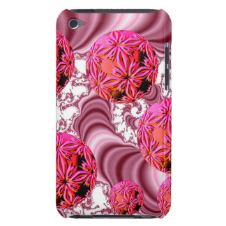 Raspberry Pink Vision, Abstract Snow Flakes Barely There iPod Cases