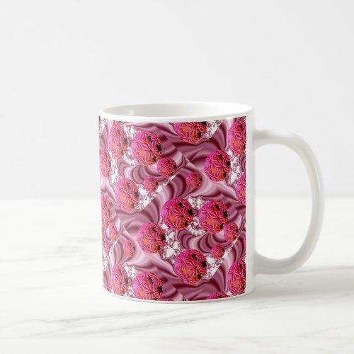 Raspberry Pink Vision, Abstract Snow Flakes Coffee Mug