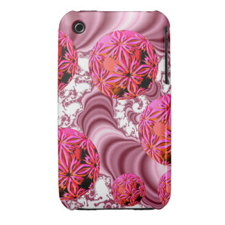 Raspberry Pink Vision, Abstract Snow Flakes iPhone 3 Cover