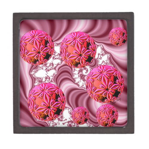 Raspberry Pink Vision, Abstract Snow Flakes Jewelry Box