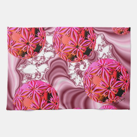 Raspberry Pink Vision, Abstract Snow Flakes Kitchen Towel