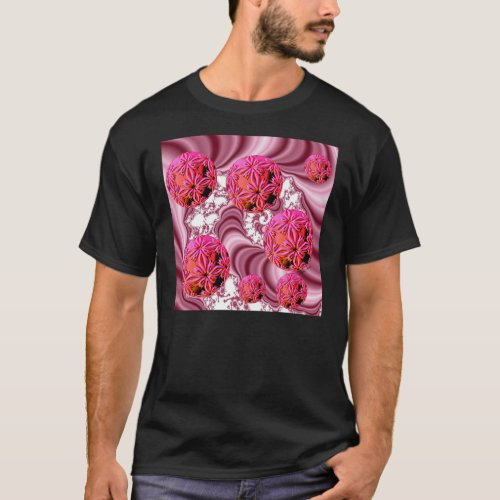 Raspberry Pink Vision, Abstract Snow Flakes T-Shirt