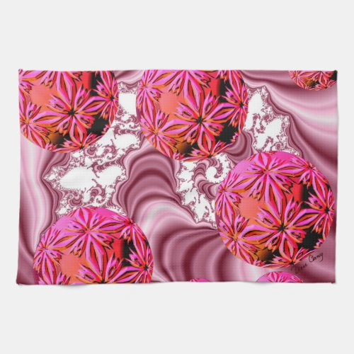 Raspberry Pink Vision, Abstract Snow Flakes Towel