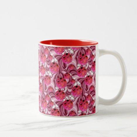 Raspberry Pink Vision, Abstract Snow Flakes Two-Tone Coffee Mug