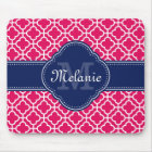 Raspberry Pink Wht Moroccan Pattern Navy Monogram Mouse Pad