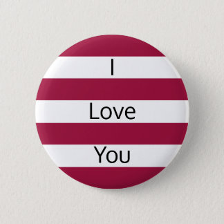 Raspberry Red and White Stripes Pinback Button