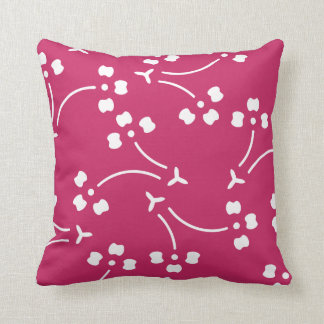 Raspberry Red Stylized Floral Pattern Pillow