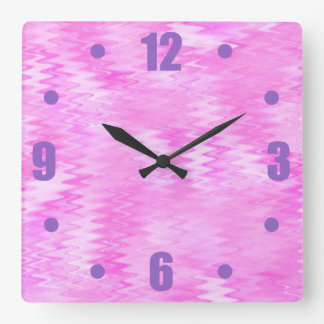 Raspberry Ripple Effect Pink Abstract Pattern Square Wall Clock