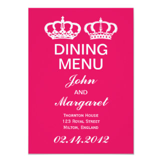 Raspberry Royal Couple Dining Menu 4.5x6.25 Paper Invitation Card