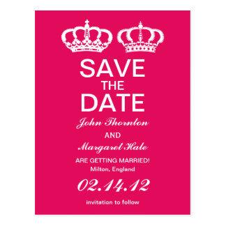 Raspberry Royal Couple Save the Date Postcard