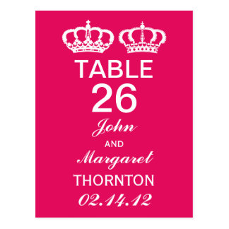 Raspberry Royal Couple Table Numbers Postcard