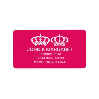 Raspberry Royal Couple Wedding Custom Address Label