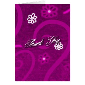 Raspberry Scroll Thank You Card