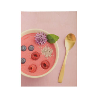 Raspberry smoothie bowl wood poster