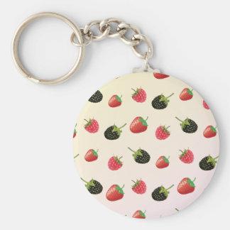 Raspberry, Strawberry, Blackberry: summer fruit Keychain