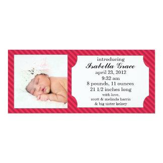Raspberry Sweet Stripes Photo Birth Announcements