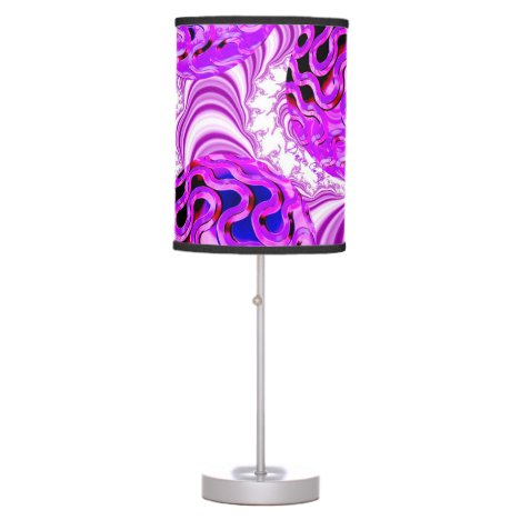 Raspberry Swirl, Abstract Fractal Violet Sherbet Table Lamp