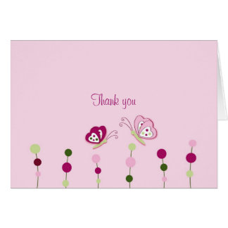 Raspberry Swirl Butterfly Thank You Note Cards