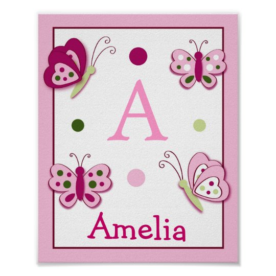 Raspberry Swirl Butterfly Wall Art Name Print