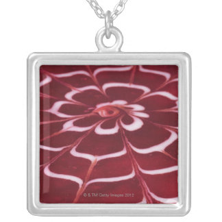 Raspberry tart silver plated necklace