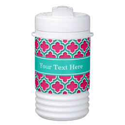 Raspberry, Teal Moroccan #5DS Teal Name Monogram Cooler
