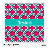Raspberry, Teal Moroccan #5DS Teal Name Monogram Wall Sticker