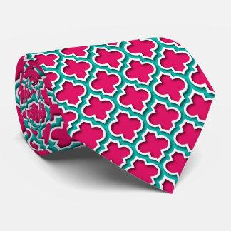 Raspberry Teal White Moroccan Quatrefoil #5DS Tie