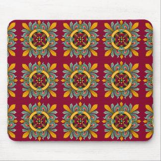 Raspberry Victorian Tile Design Mouse Pad